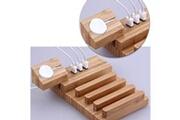 Prixwhaou.fr Station de charge-bambou carbonisé détachable multifonctions 3 ports usb, supports de dock de chargement