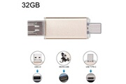 Prixwhaou Clé usb et lecteur de carte-32 gb 3 en 1 usb-c / type c usb 2.0 disque flash otg (or)