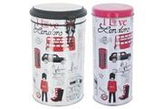 Londres Set ensemble lot boite a café a capsules rangement en métal avec couvercle déco londres