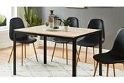Homifab Table à manger industrielle 120x80x75 cm noir et effet chêne - collection soho.