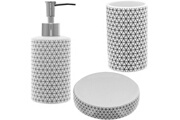 Promobo Set salle de bain céramique design hypnose rond 3 accessoires distributeur savon gobelet porte savon blanc