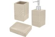 Promobo Set salle de bain céramique design relief 3 accessoires distributeur savon gobelet porte savon crème taupe