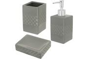 Promobo Set salle de bain céramique design relief 3 accessoires distributeur savon gobelet porte savon gris argenté