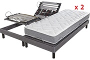 Direct Ameublement Pack sommier relaxation160x200 hyper confort + 2 matelas 100% latex 3 zones tom