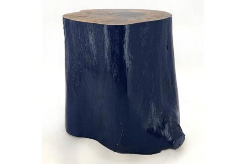 Aucune Tabouret Bas Moderne Bois Massif Clair Et Bleu Multi D 30 Cm