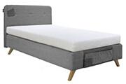 Bopita Lit avec sommier tapissier gris pieds hêtre clair lynn 120x200 cm