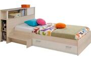 AUCUNE Lit enfant avec tête de lit acacia clair et blanc marly 90 x 200 cm