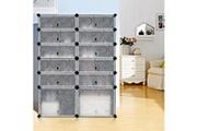 Langria Langria 12-cube diy etagere a chaussures, armoire de rangement en plastique modulaire multi-usage avec portes, marron
