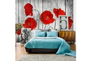 No-name 100x70 papier peint coquelicots fleurs chic tale of red poppies
