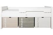 Bopita Lit compact pin massif blanc basic wood 90