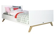 Bopita Lit bois laqué blanc et pieds hêtre clair lynn 120x200 cm