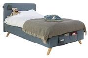 Bopita Lit avec sommier tapissier bleu pieds hêtre clair lynn 120x200 cm