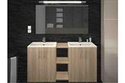 AUCUNE Meuble de salle de bain bois clair 2 vasques sikkie 120 cm
