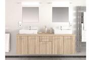AUCUNE Meuble de salle de bain bois clair 2 vasques 2 miroirs nafti