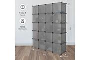 Langria Armoire de rangement 20 cubes diy armoire penderie etagères de rangement modulable pour vêtements chaussures grise