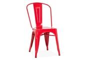 AUCUNE Chaise industrielle acier brillant rouge kontoir