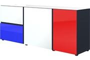 Pegane Bahut bas coloris noir/multicolor - dim : 164 x 66 x 40 cm -pegane-