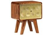 Vidaxl Table de chevet bois de sesham solide imprimé doré 49x40x30 cm