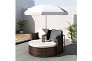 GENERIQUE Meubles de jardin serie bamako canapé de 2 places rond brun avec le parasol