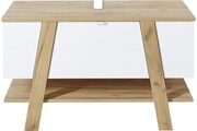 Pegane Elément bas pour salle de bain coloris blanc/chêne-navarra repro - dim : 111 x 67 x 46 cm -pegane-
