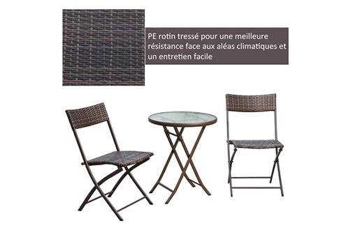 Résine Tressée Outsunny Ensemble Plateau Pliable Chocolat Jardin Chaises Pliantes De Places 2 Table Trempé Salon Verre Ronde 8nvymON0w