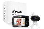 """Miniboss Miniboss bébé moniteur écoute bébé 3.5"""" conversations bidirectionnelles vision nocturne avec berceuses noir"""