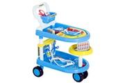 HOMCOM Jeu d'imitation docteur chariot à roulettes 47l x 30l x 55h cm multiples accessoires + rangements bleu
