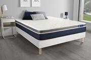 Actisom Ensemble actilatex confort matelas latex+mémoire de forme 160x200 cm maxi épaisseur 7zones de confort + sommier kit blanc