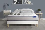 Actisom Pack prêt à dormir matelas ressorts ensachés + mémoire de forme actiflex form 140x190 + sommier kit blanc +2oreillers+couett