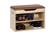 IDIMEX Meuble à chaussures zapato banc avec assise et 2 étagères rangement pour 6 paires, décor chêne sonoma