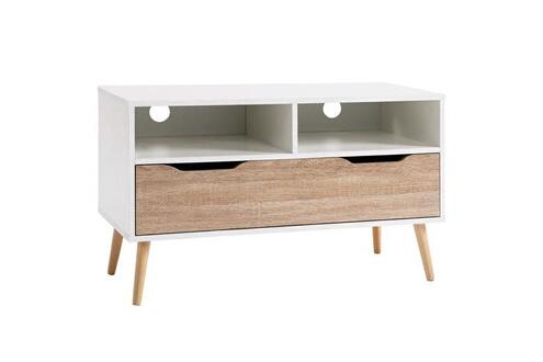 IDIMEX Meuble tv genova banc télé 90 cm style scandinave design vintage avec 1 tiroir et 2 niches, décor blanc mat et chêne sonoma