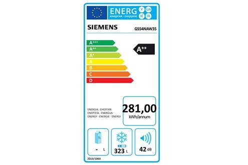 Siemens Congélateur armoire 70cm 323l nofrost a++ blanc - siemens - gs54naw35