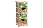 IDIMEX Chiffonnier adelfia petite commode en bois déco jungle urbaine avec 2 tiroirs motifs feuilles tropicales et 2 paniers tressés
