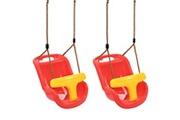Vidaxl 2 pcs balançoires avec ceinture de sécurité pour bébé pp rouge