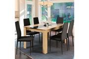 Idmarket Table à manger georgia 6 personnes imitation hêtre et noire 140 cm