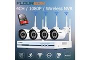Floureon 4ch caméra ip sans fil cctv 1080p dvr kit wifi extérieur wlan 720p 1 to hdd security enregistreur vidéo système nvr eu