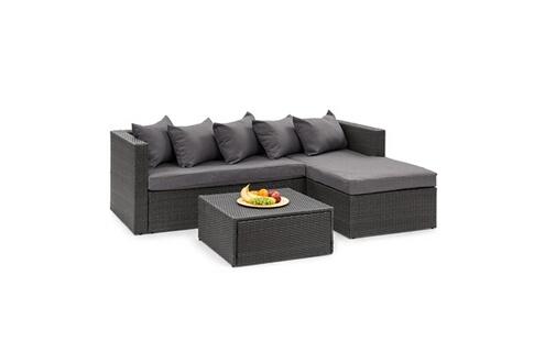 Blumfeldt Theia lounge salon de jardin 5 places en résine tressée -  coussins housses gris + poly rotin noir