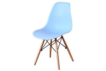 X4 pièces chaise pieds en bois assise en résine bleu ciel vega plus