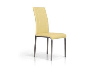 X4 pièces chaise rembourrée en faux cuir couleur crème capitonnée kade