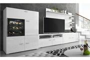 Comfort Ensemble de meubles,meuble de salon unité murale, meuble bas tv avec cave à vin, réfrigérateur la sommelière. Laqué blanc/blanc mat. 295x175x57/40cm
