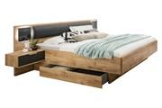 Pegane Lit futon avec 2 chevets imitation chêne poutre - dim : 180 x 200 cm -pegane-