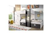 Pegane Lit enfant avec 2 tiroirs et 1 armoire coloris arctique et graphite - l 271 x p 111 x h 150 cm -pegane-