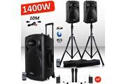 Ibiza Sound Système actif amplifié batterie 1400w port12 vhf sonorisation karaoké musiciens dj usb bluetooth mobile + pieds