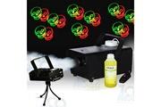 Fx Lab Machine à fumée 400w + 1 litre de liquide + laser motifs têtes de mort rouge et vert