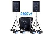 Bm Sonic Pack sonorisation dj pa bms-1812 2400w sub 46cm - 2 hp 30cm + câbles + 4 mini ledstrobes lytor
