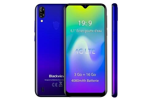 Blackview Blackview a60 pro smartphone 4g 6.1'' écran goutte d'eau 3go ram 16go rom android 9.0 téléphone portable débloqué - bleu