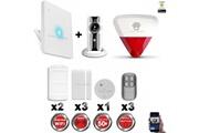 Chuango Alarme maison - kit alarme ip wifi sans fil + caméra wifi hd + incendie + sirène flash intérieure extérieure chuango