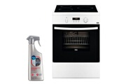 Faure Cuisinière induction blanc 3 plaques 60x60cm four pyrolyse 54l multifonction fci6560pwa