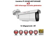 Europ Camera Tube ip zoom motorisée x3 anti-vandal ir 60m onvif poe sony 6k uhd 12 megapixels / ref : ec-t12mp60zm - caméra surveillance ip