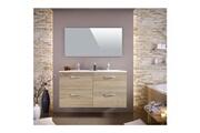 No-name Salle de bain complete stella ensemble salle de bain double vasque avec miroir l 120 cm - décor chene